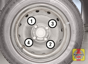 Illustration of step:  i Securely tighten the wheel bolts in a diagonal sequence then refit the wheel trim/hub cap (as applicable) - step 10