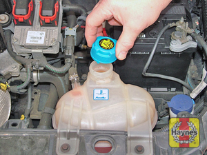 Illustration of step:  Unscrew the coolant expansion tank filler cap  - Coolant level - step 22
