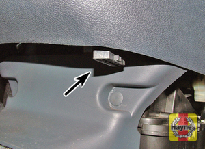 Illustration of step: On early models, the diagnostic socket is located to the left-hand side of the pedals - step 2