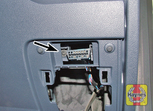 Illustration of step: On later models, the diagnostic socket is located to the right-hand side of the steering column - step 3