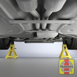 Illustration of step: ALWAYS support the trolley jack with axle stands placed at the specified jacking points - step 1