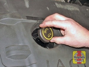Illustration of step:  Oil is added through the filler cap - Car care - step 8