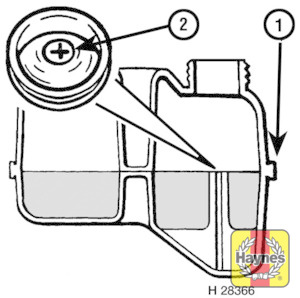 Illustration of step: The expansion tank should be approximately half-full, so that the level is up to the ridge (1) on the front of thetank - Vehicle care - step 22