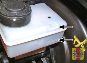 Illustration of step:  The brake master cylinder and fluid reservoir are mounted on the vacuum servo unit in the engine compartment on the right-hand side of the bulkhead - Safety first! - step 27