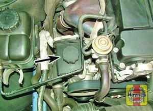 Illustration of step:  Power steering fluid reservoir – 1 - Power steering fluid level - step 39
