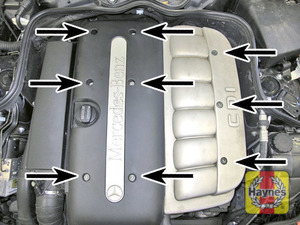 Illustration of step:  Undo the screws and remove the covers  - In-line engines - step 2