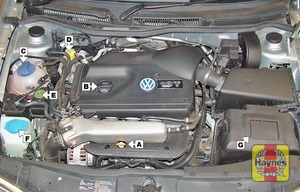 Illustration of step:  1 - Underbonnet check points - step 2