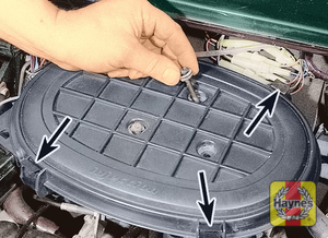Illustration of step:  On fuel injection models, release the clips (three arrowed) and remove the screws  - Fuel injection models - step 17
