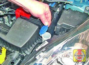 Illustration of step:  The reservoir for the windscreen and rear window washer systems is located on the left-hand side of the engine compartment - Screen washer fluid level - step 31