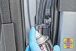 Illustration of step: Why not lubricate your hinges? Use a can of lithium grease, spray a very small amount onto each door hinge, and the bonnet catch - step 5