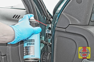 Illustration of step: Why not lubricate your hinges? Spray a very small amount of lithium grease onto each door hinge, and don't forget the bonnet catch - step 4