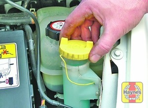 Illustration of step:  The reservoir for the windscreen and rear window (where applicable) washer systems is located on the front left-hand side of the engine compartment - Screen washer fluid level - step 42