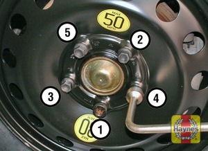 Illustration of step:  Securely tighten the wheel bolts in the sequence shown then refit the wheel trim/hub cap (as applicable) - step 9