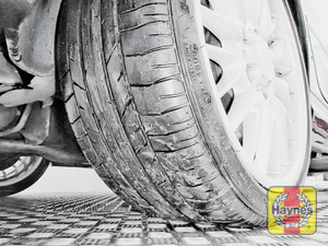 Illustration of step:  Take a quick look at the tyre treads and sidewall condition If you need to change a wheel, click below  - step 3