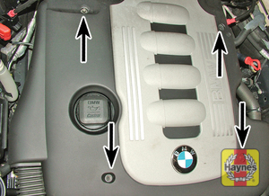 Illustration of step:  Undo the bolts and remove the plastic cover  - M57T2 6-cylinder engines - step 19