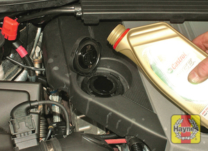 Illustration of step:  Oil is added through the filler cap - Models with a dipstick - step 14