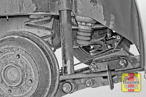 Illustration of step:  Take a good look around brake system and the suspension arm, check for any leaks Should the rear shock absorber need to be replaced, click below  - step 11