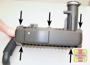 Illustration of step:  Undo the screws (arrowed) securing the air cleaner lid to the base  - step 13