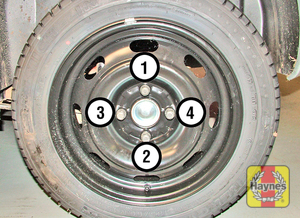 Illustration of step:  Securely tighten the wheel bolts in a diagonal sequence then refit the wheel trim/hub cap/wheel bolt covers (as applicable) - Finally... - step 13