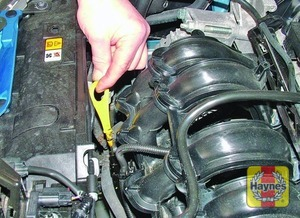 Illustration of step:  The dipstick is brightly coloured for easy identification (see Underbonnet check points for exact location) - Car care - step 9