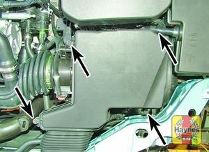 Illustration of step:  Filter cover bolts (arrowed) – 1 - step 7