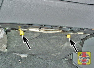 Illustration of step: To access the main fusebox, unclip the cover from under the passengers side of the facia  - step 1