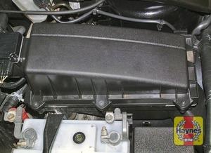 Illustration of step:  Air cleaner assembly location (V6 engine)  - step 2