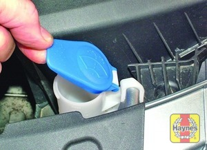 Illustration of step:  The reservoir for the washer systems is located on the left-hand side of the engine compartment - Screen washer fluid level - step 48