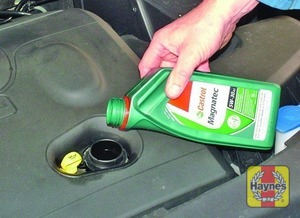 Illustration of step:  Oil is added through the filler cap - Car care - step 17