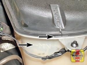Illustration of step:  The coolant level varies with the temperature of the engine, and is visible through the expansion tank - Car care - step 13