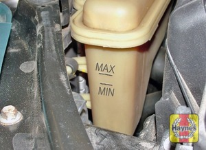 Illustration of step:  The coolant MAX and MIN level markings are either visible inside the tank, or on the side (V6 engines) - Car care - step 19