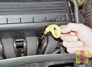 Illustration of step:  The dipstick top is often brightly coloured for easy identification (see Underbonnet check points for exact location) - Car care - step 6