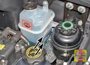 Illustration of step:  The coolant level is indicated by the minimum and maximum marks on the side of the expansion tank at the rear of the engine compartment - Car Care - step 11