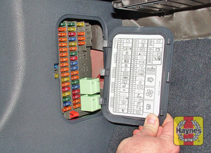 Illustration of step: On early models, the main fusebox is located in the passenger side kick panel - step 1