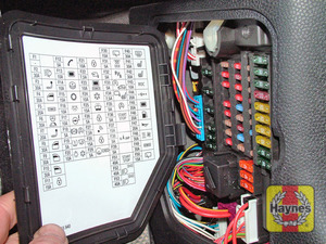 Illustration of step: Later model main fusebox is located in the driver side kick panel - step 2