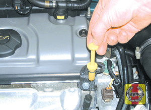 Illustration of step: The engine oil level is checked with a dipstick that extends through the dipstick tube and into the sump at the bottom of the engine (1 - Car care - step 12