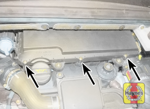 Illustration of step: Undo the three air filter cover screws and then lift off the cover  - 1.4 litre engines - step 3