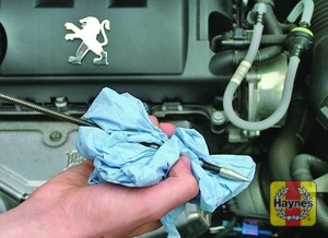Illustration of step:  Wipe all the oil from the end with a clean rag or paper towel - Car care - step 12