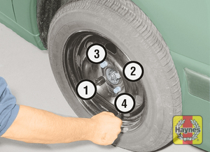 Illustration of step:  Securely tighten the wheel bolts in a diagonal sequence then refit the wheel trim/hub cap/wheel bolt covers (as applicable) - step 11
