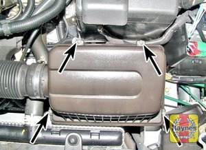 Illustration of step:  Undo the air cleaner housing lid screws  - step 2