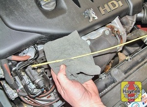 Illustration of step:  Using a clean rag or paper towel remove all oil from the dipstick - Car Care - step 6
