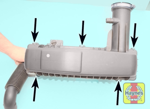 Illustration of step:  Undo the screws (arrowed) securing the air cleaner lid to the base  - All models - step 19