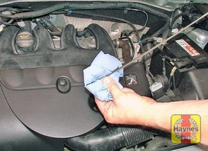 Illustration of step:  Using a clean rag or paper towel, wipe all the oil from the dipstick - Car Care - step 15