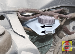 Illustration of step:  The MAX and MIN marks are indicated on the side of the reservoir, which is located on the front of the vacuum servo unit in the engine compartment -  Safety first! - step 47