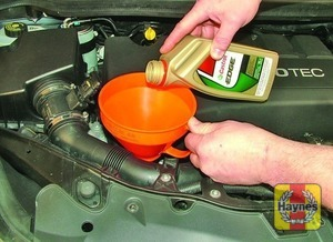 Illustration of step:  Oil is added through the filler cap - Car care - step 13