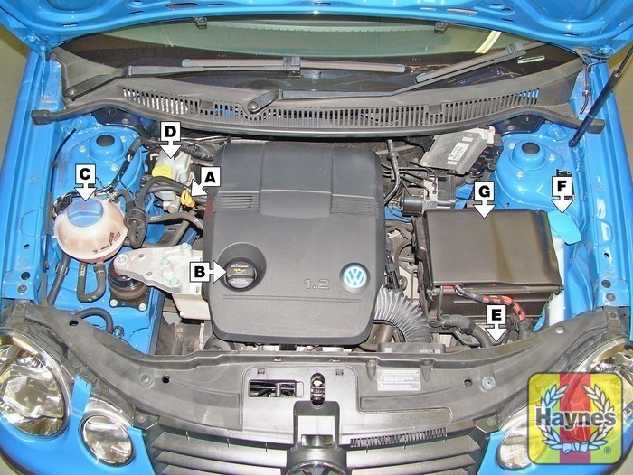 Volkswagen polo 2002 2009 12 fluid level checks haynes illustration of step 1 underbonnet check points step 1 sciox Choice Image