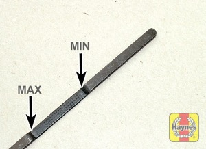 Illustration of step:  Note the level on the end of the dipstick - Car care - step 13