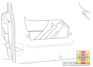 Illustration of step:  On Van and Caravelle models, the jack, wheelbrace and vehicle tools are located in a stowage compartment at the rear left of the luggage compartment - step 2