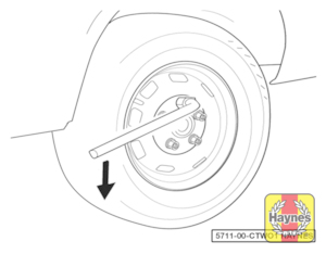 Illustration of step:  Where applicable, prise off the wheel bolt covers or wheel trim, using the flat end of the wheelbrace, for access to the wheel bolts - step 6