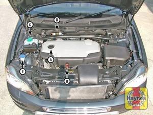 Illustration of step:  XC90 models A Engine oil filler cap B Engine oil level dipstick C Coolant reservoir (expansion tank) D Brake (and clutch) fluid reservoir E Washer fluid reservoir  - Underbonnet check points - step 2